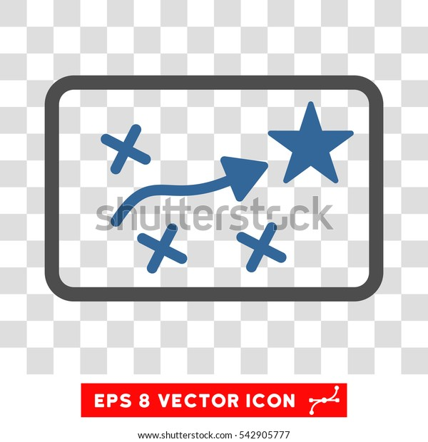 Vector Route Plan EPS vector icon. Illustration style is flat iconic bicolor cobalt and gray symbol on a transparent background.