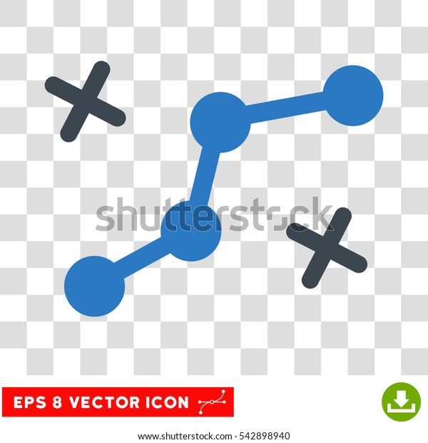 Vector Route Points EPS vector icon. Illustration style is flat iconic bicolor smooth blue symbol on a transparent background.