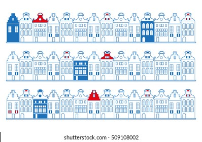 Vector rows of old Dutch (Holland, Amsterdam) traditional houses in blue, red and white