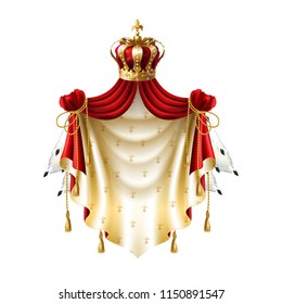 Vector royal baldachin with gold, crown, jewelry and fringe fur isolated on white background. Template of label with heraldic canopy for companies, business. Elegant premium element.