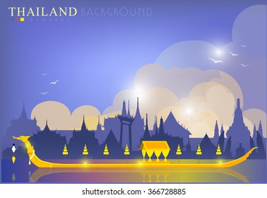 Vector of The Royal Barge Suphannahong on River, Landmark of Thailand Background