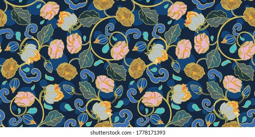 Vector royal baroque intarsia style floral pattern, seamless design with hand drawn historic florals on dark blue background. Nature background. Surface pattern design.