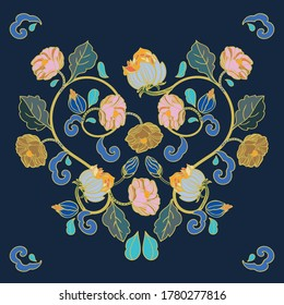 Vector royal baroque intarsia style floral illustration set, vintage design with hand drawn historic florals on dark blue background. Nature background. Surface pattern design.