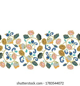 Vector royal baroque intarsia style floral border, seamless design with hand drawn historic florals on white background. Nature background. Surface pattern design.