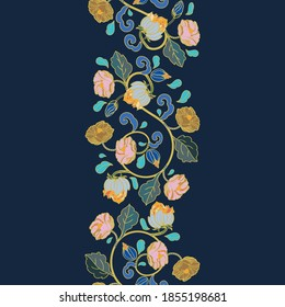 Vector royal baroque intarsia style peony border. Seamless floral garland with hand drawn historic florals on dark blue background. Nature background. Marble intarsia effect.