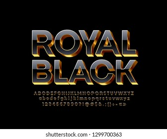 Vector Royal Black Font. Elegant 3D Alphabet Letter, Numbers and Symbols.
