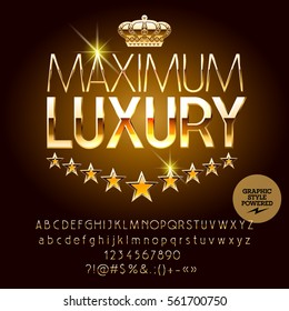 Vector royal casino golden logo Maximum luxury. Set of letters, numbers and symbols. Contains graphic style.
