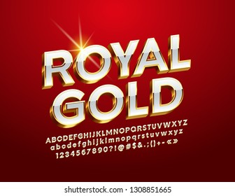 Vector Royal Gold Alphabet Letters, Numbers and Symbol. 3D Luxury Font.