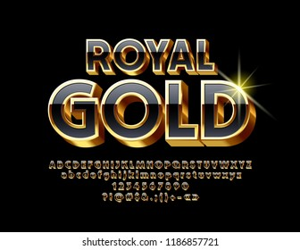 Vector Royal Gold Unique Font. Elite 3D Alphabet Letter, Numbers and Symbols.