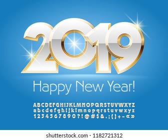 Vector royal Gold and White greeting card Happy New Year 2019. Luxury glossy Alphabet Letters and Symbols. Elegant sparkling Font.