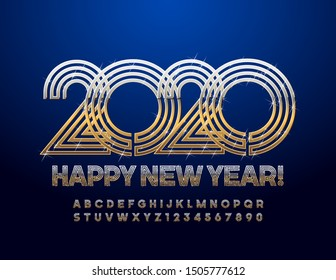 Vector royal Greeting Card Happy New Year 2020. Сhic Alphabet Letters and Numbers. Golden Elegant Font.