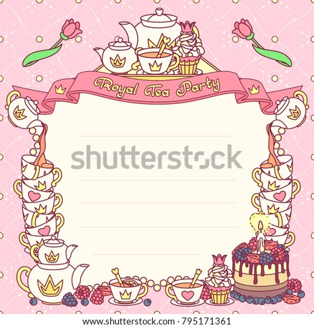 vector Royal tea party invitation template. Festive vintage flat concept. Handdrawn cute fun color
