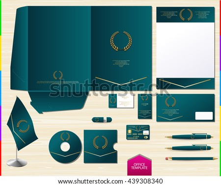 vector royal turquoise corporate id brand book template office souvenir logo set for you design