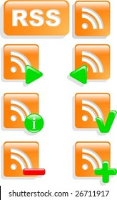 the vector rss web symbol icon set eps 8
