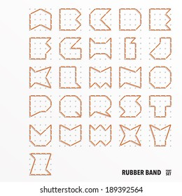 Vector Rubber Band Alphabet Set