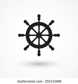 Vector rudder web flat icon. Eps 10 illustration. Boat wheel control icon