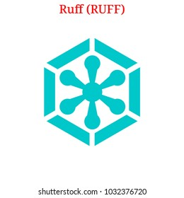 Vector Ruff (RUFF) digital cryptocurrency logo. Ruff (RUFF) icon. Vector illustration isolated on white background.