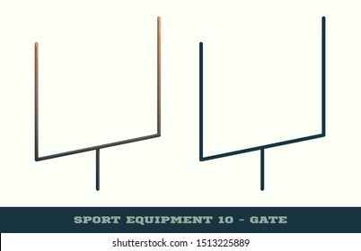 Vector rugby gate icon. Game equipment. Professional sport, classic american football gates for official competitions and tournaments. Isolated illustration.
