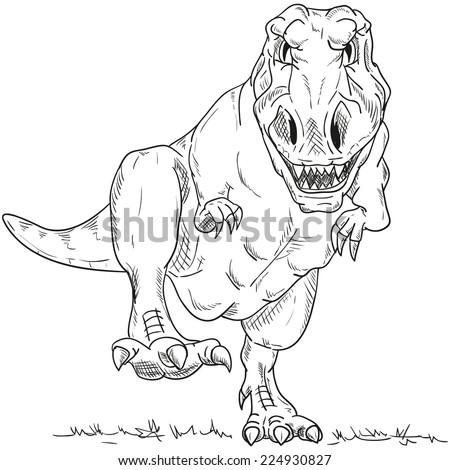 Vector Run Dino T Rex Isolated On Vector de stock (libre de regalías ...
