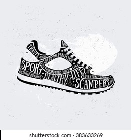 Vector run typography poster with training shoes icon. Quote for card. Creative sport print. Silhouette style. Running shoe, sneaker isolated on light background. Flat design. 10 eps