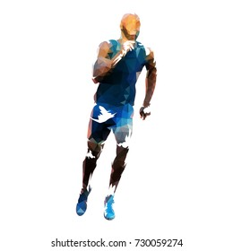 Vector runner, abstract geometric running man illustration. Front view