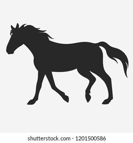 Vector running black horse silhouette isolated on white background.