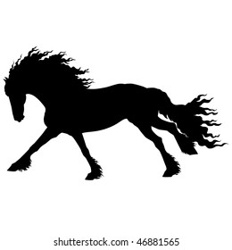 vector running friesian horse on a white background