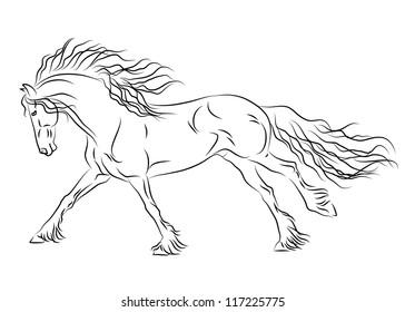 Vector running friesian horse sketch