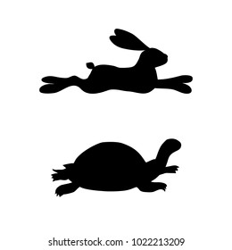 Vector of running hare and turtle silhouette.Slow and fast