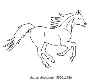Vector running horse outline silhouette isolated on white background equestrian sport symbol