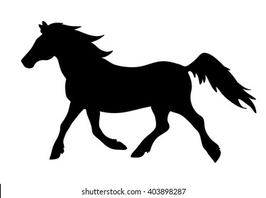 Vector running horse silhouette