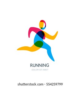Vector running human logo, emblem, icon or label isolated design element. Sport man overlapping illustration. Concept for sports club, fitness, competition, marathon and healthy lifestyle