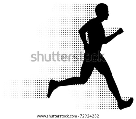 Vector Running Man & Halftone Trail. Silhouette of a healthy man running at great speed with an abstract halftone trail following behind him.  Black and white illustration (gradient free).