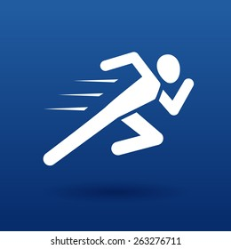 vector running man icon white silhouette on dark blue background with shadow