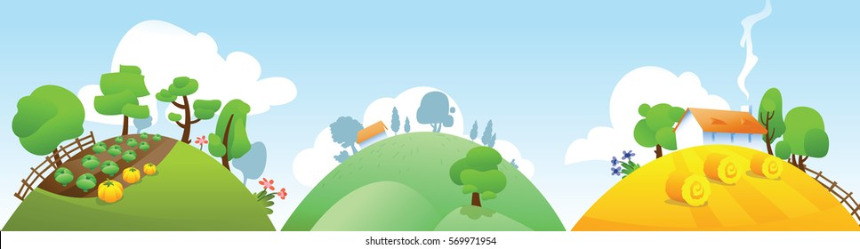 Vector rural landscape with farm, forest, hills and trees.