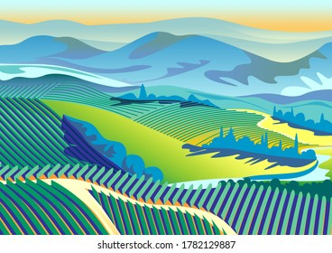 Vector rural landscape with farms, vineyards and hills in the background.