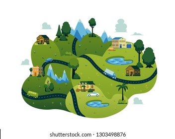 Vector rural landscape scenery icon with road path through green fileds with lakes, farm houses with cars, forest trees and mountains. Map design construcion element. Spring, summer countryside.