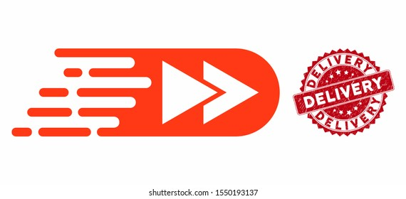 Vector rush rewind forward icon and rubber round stamp seal with Delivery phrase. Flat rush rewind forward icon is isolated on a white background. Delivery stamp seal uses red color and grunge design.