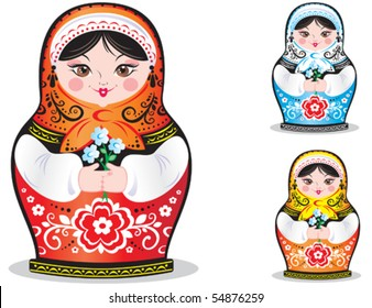 Vector. Russian doll matryoshka