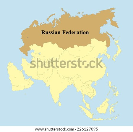 Vector Russian Federation Map On Asia Stock Vector (Royalty Free ...