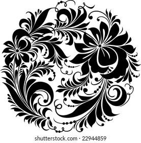 "Vector. Russian traditional ornament ""Hohloma"""