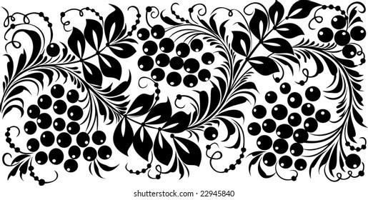 "Vector. Russian traditional ornament ""Hohloma""."