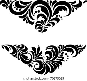 "Vector. Russian traditional ornament ""Hohloma"". Ornament in a triangle"