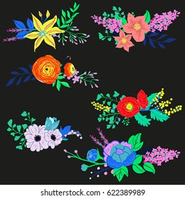 Vector Rustic Flowers Collection Bright Spring Bouquets Set Hand Drawn Vibrant For