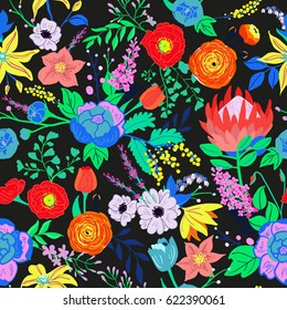 Vector rustic flowers composition. Bright spring flowers seamless pattern. Hand drawn vibrant flowers for wedding invitations and greeting cards, wallpaper, fabric and paper design. Seamless floral.