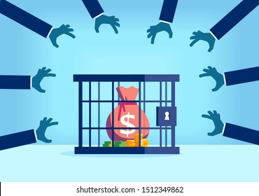 Vector of a sack of money with dollar sign desired by many people being trapped inside a locked cage