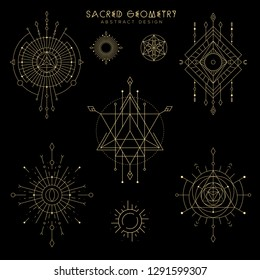 Vector sacred geometry illustration set . Mystical celestial symbols with eye, arrow, moon, sun, stars, triangles. Gold abstract compositions suitable for apparel, card, poster design.