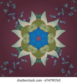 Vector sacred geometry round colored symbol with glowing stars on a colorful background.