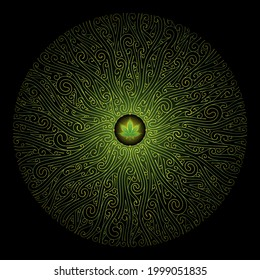 Vector sacred mandala with marijuana leaf. Complex graphic art with pattern of spirals. Symbol of energy and power cannabis plant. Shine ornament on black backdrop.