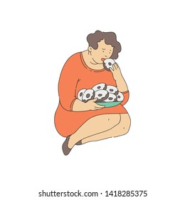 Vector sad obese woman suffuring from bulimia, gluttony sitting holding pile of doughnuts. Overweight female character with eating disorder. Sad fat girl with obesity.